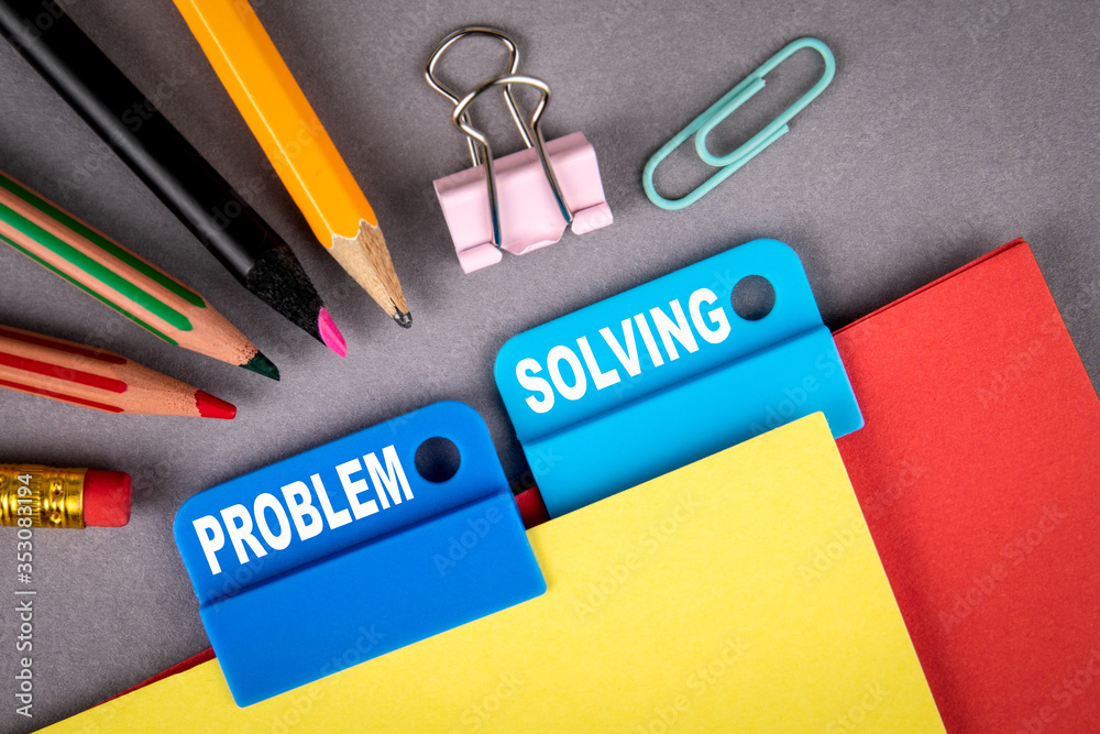 Fototapeta PROBLEM SOLVING concept. Folder Register of Card Index. Colored pencils