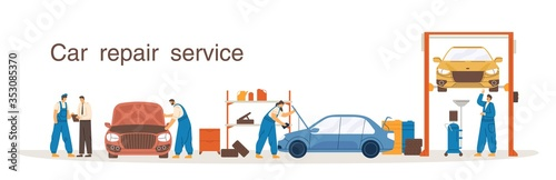 Obraz Professional mechanic in overalls working at car repair service vector flat illustration. Colorful man and woman at process diagnostic, lift, change of machine oil isolated on white background - fototapety do salonu
