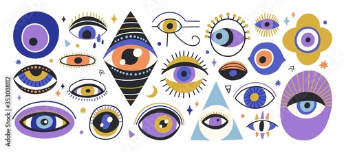 Obraz na płótnie Set of various hand drawn doodle eyes vector flat illustration
