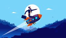Businessman On Rocket In Lands...