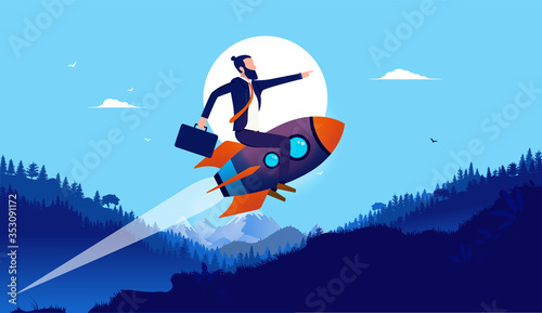 Fotografia Businessman on rocket in landscape - Man flying on spaceship up hill in high speed with landscape in background