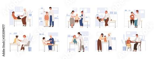 Fotomural Set of cute child visit doctor vector flat illustration