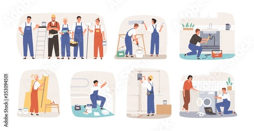 Obraz Set of various smiling home masters and repairmans vector flat illustration. Collection of different plumber, painter, plasterer, tiler and electrician isolated on white. Man and woman repairers - fototapety do salonu