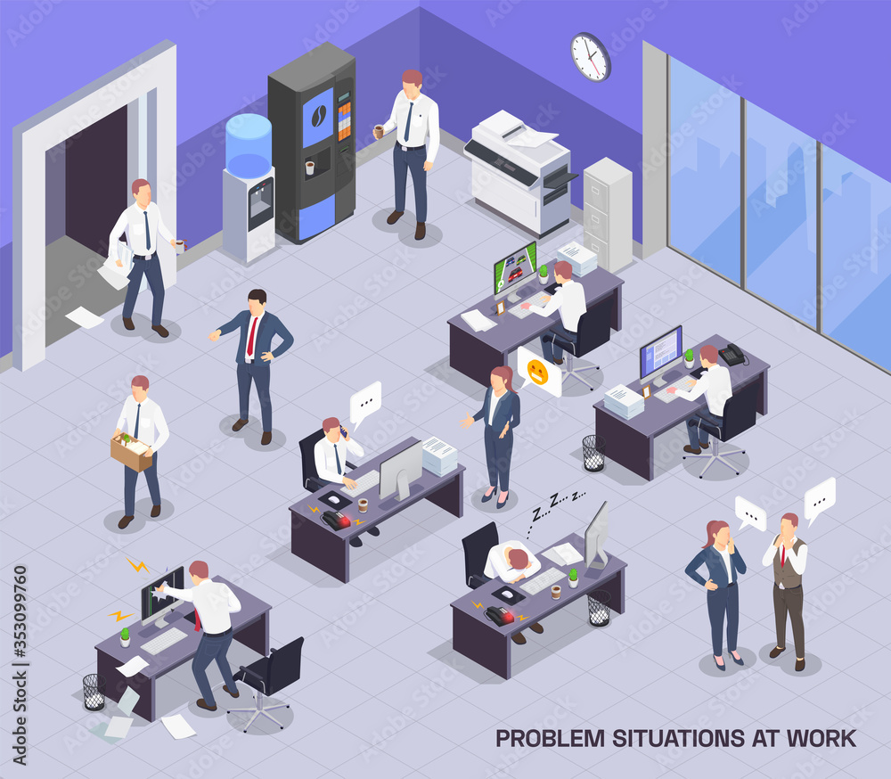 Fototapeta Problem Situations At Work Isometric Composition