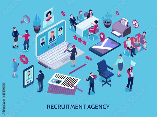 Obraz Recruitment Agency Isometric Composition  - fototapety do salonu
