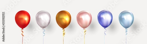 Fototapeta Set of helium isolated balloons of different colors