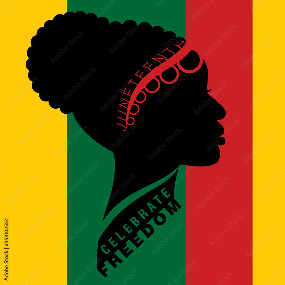 Fototapeta Afro-american woman in traditional cornrow up-do bun hairstyle with lettering on Freedom