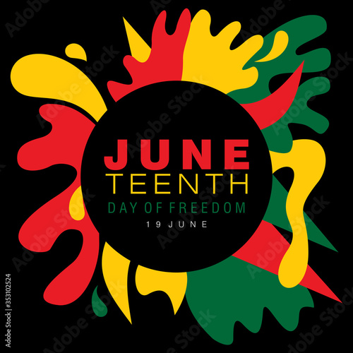 Fototapeta Juneteenth simple typography on a splash of abstract designs in national colors  obraz