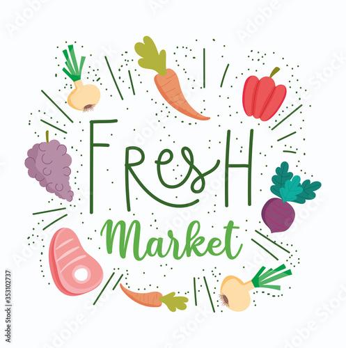 Obraz healthy food, fresh market organic ingredient nutrition diet - fototapety do salonu