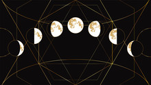 Moon Phases Flat Image On A Bl...