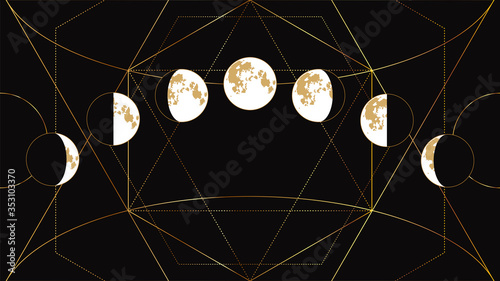 Moon phases flat image on a black background with a geometric golden pattern Wallpaper Mural