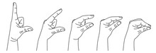 Hand Showing Size Between Fingers From Big To Small. Gesture Showing Measuring In Sign Language. Vector Illustration In Outline Style Isolated On White Background.