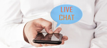Online Chat Chatting On Application Communication Digital Media Website And Social Network. Hand Of Man Typing Text On Mobile Smartphone.