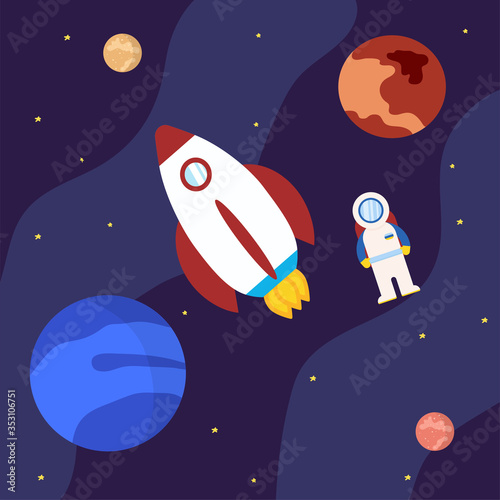 Photo Rocket with astronaut and planets in outer space illustration cartoon style and flat color launch to the space