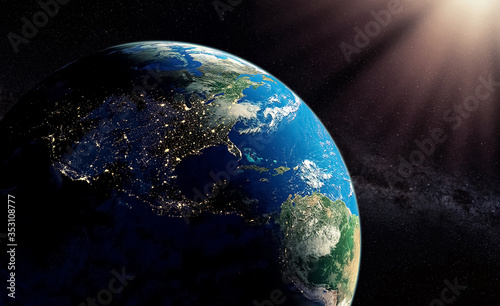 Fototapety, obrazy: Earth viewed from space - 3D rendering illustration