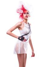Stylish Model In White Bodysuit Posing In Studio Isolated On White Background