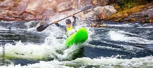 Fototapeta Banner whitewater kayaking, extreme sport rafting