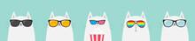 White Cat Set. Eating Popcorn....
