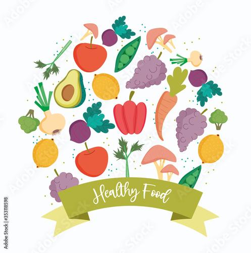 Obraz healthy food, products organic fresh balance nutrition diet - fototapety do salonu