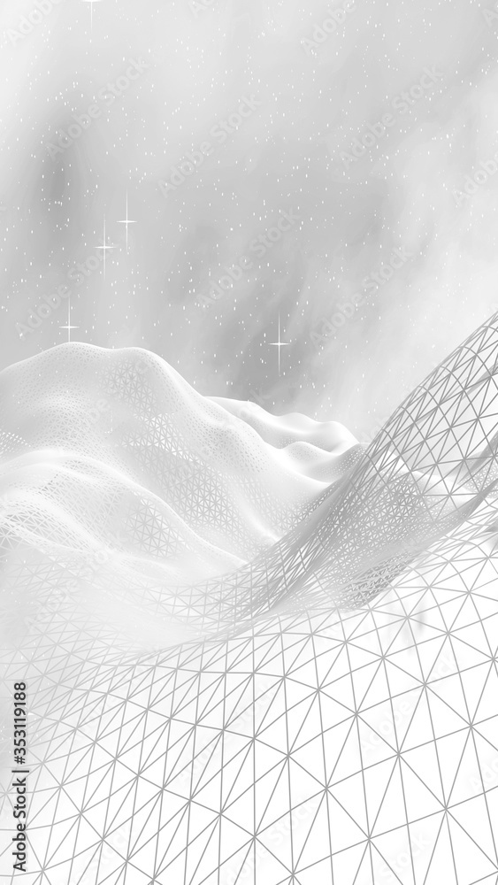 White abstract background. Hi tech network. Cyberspace grid. Outer space. Starry outer space texture. 3D illustration