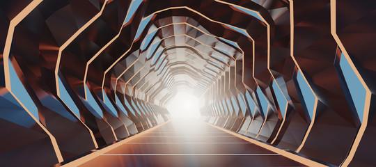 3d prikaz crteža osvijetljenog hodnika sažetak budućeg svemirskog tunela.