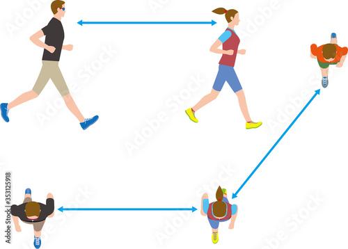 Photo ウイルス感染予防。ジョギングをするときのソーシャルディスタンス