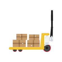Pallet Isometric Isolated Vector Illustration. Simple Trolley In Flat.