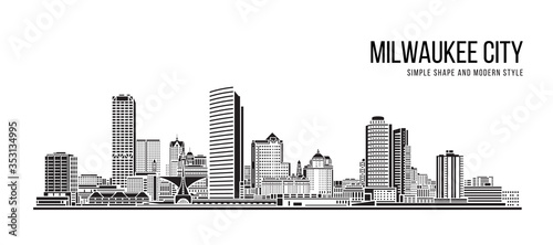 Cityscape Building Abstract Simple shape and modern style art Vector design - Milwaukee city