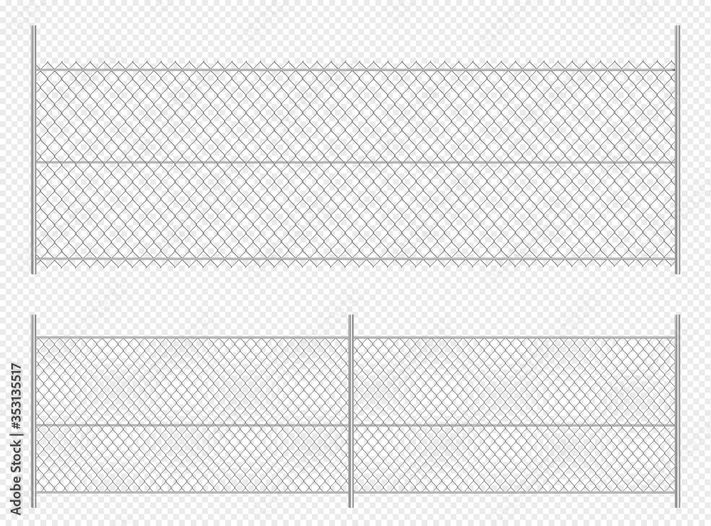 Fototapeta Realistic chain link fence. Metal wire fence isolated vector illustration