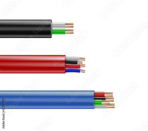 Fototapeta Realistic electrical wires flexible network. obraz