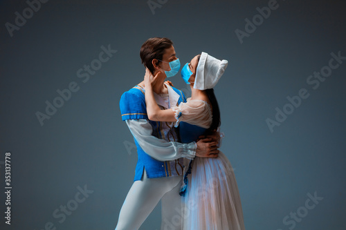 Платно Modern Cinderella not trying the slipper on, but kissing with protective face mask