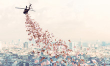 Helicopter Flies Over The City And Distributes Euro Money To Everyone.