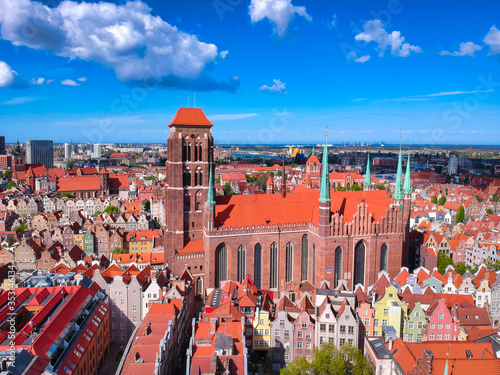 Fototapety, obrazy: Aerial view of the old town in Gdansk with amazing architecture at summer,  Poland