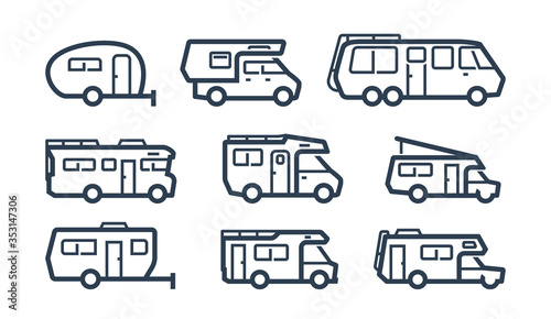 Canvas Print RV Cars, Recreational Vehicles, Camper Vans Icons in Outline Style