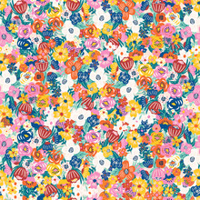 Liberty Flower Pattern. Seamless Vector Floral Background. Blooming Midsummer Meadow Design For Fashion, Wallpapers, Print. A Lot Of Different Flowers On The Field. Liberty Style Millefleurs.