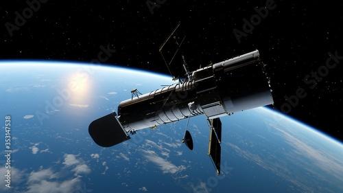 Fotografía Hubble telescope in orbit of the Earth, Hubble Space Telescope 3d render