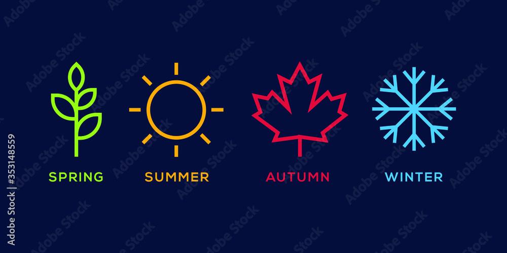 Fototapeta four season logo winter spring autumn summer vector illustration