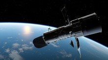 Hubble Telescope In Orbit Of T...