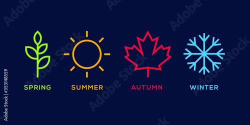 Obraz na plátně four season logo winter spring autumn summer vector illustration