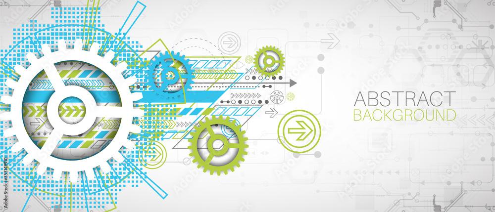 Fototapeta Modern futuristic, engineering, science, technology vector background.