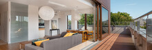 Living Room Open To Wooden Ter...