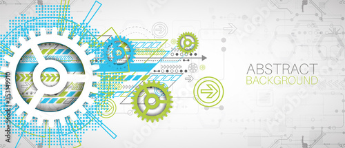 Fototapeta Modern futuristic, engineering, science, technology vector background. obraz
