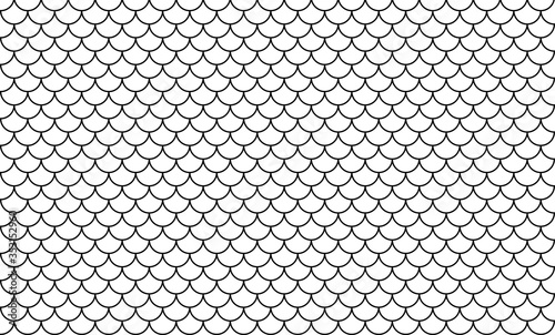 line art of fish scale pattern isolated on white background, tile pattern line, Canvas