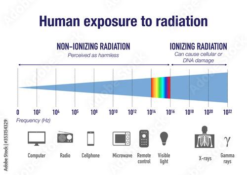 Fototapeta Human exposure to radiation on the electromagnetic spectrum