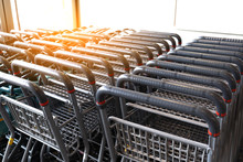 Shopping Cart Stacking Ready For Custoner Service.