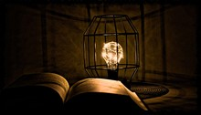 Lampa, światło, Książka, B...