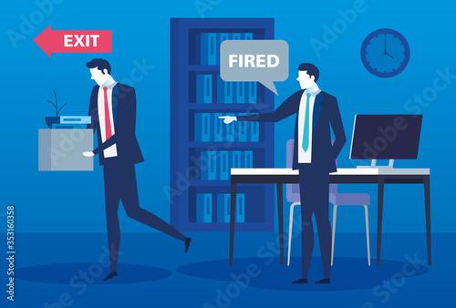 Obraz na plátně boss firing businessman , dismissal, unemployment, jobless and employee job redu