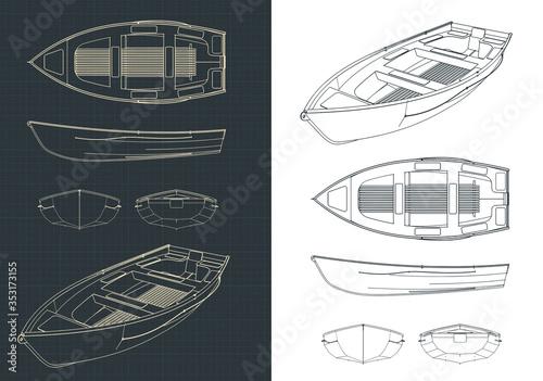 Boat blueprints illustration Canvas Print
