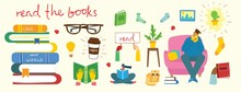 Big Set Of Books And Reading Accessories, Man And Girl Reading Books Indoor In Cozy Room. Coffee, Glasses, Home Plant And Hands Holding Book. Set Of Decorative Vector Design Elements.