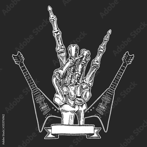 Rock heavy metal, hard rock music skeleton hand symbol Canvas Print
